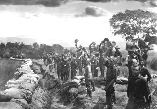 Receiving the news of the surrender of Santiago, Cuba. 1898. Scribners Collection. (Army) Exact Date Shot Unknown NARA FILE #: 111-SC-94441 WAR & CONFLICT #: 304