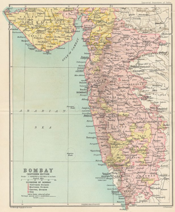 Southern part of Bombay Presidency in 1909